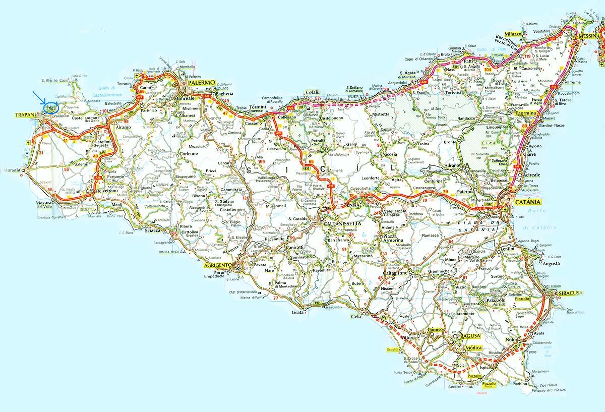 Location and travel – Sicily Tourist Map